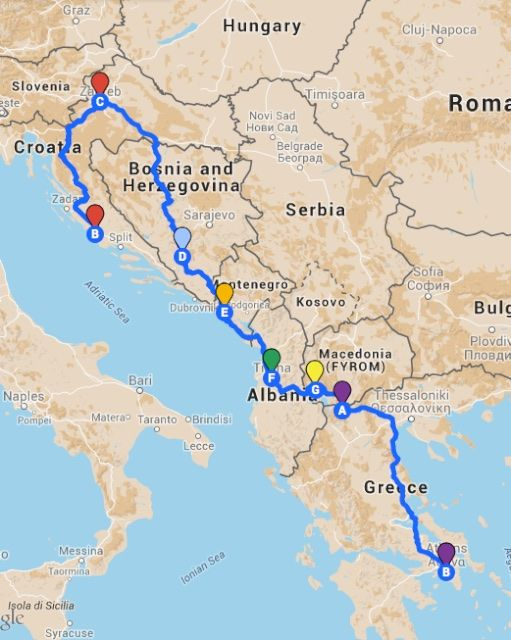 My Route Through The Balkans From Zagreb To Athens Road Trip Europe Road Trip Map Balkans Travel