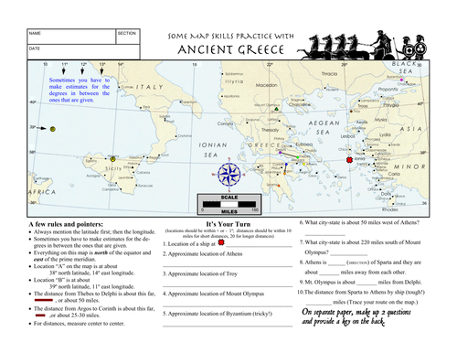 Worksheet Ancient Greece Latitude Longitude Questions