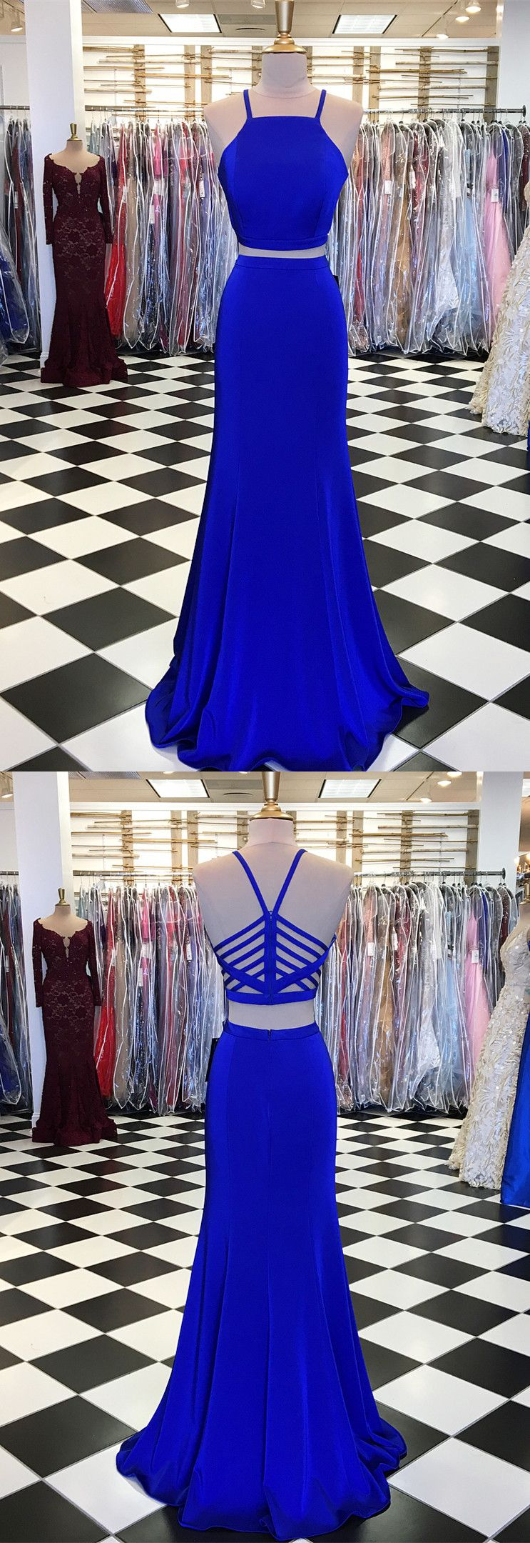 Gorgeous two piece prom dress royal blue long prom dress prom