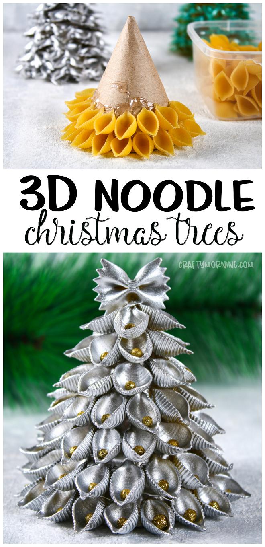 3D Noodle Christmas Trees Craft -   25 unique diy art ideas