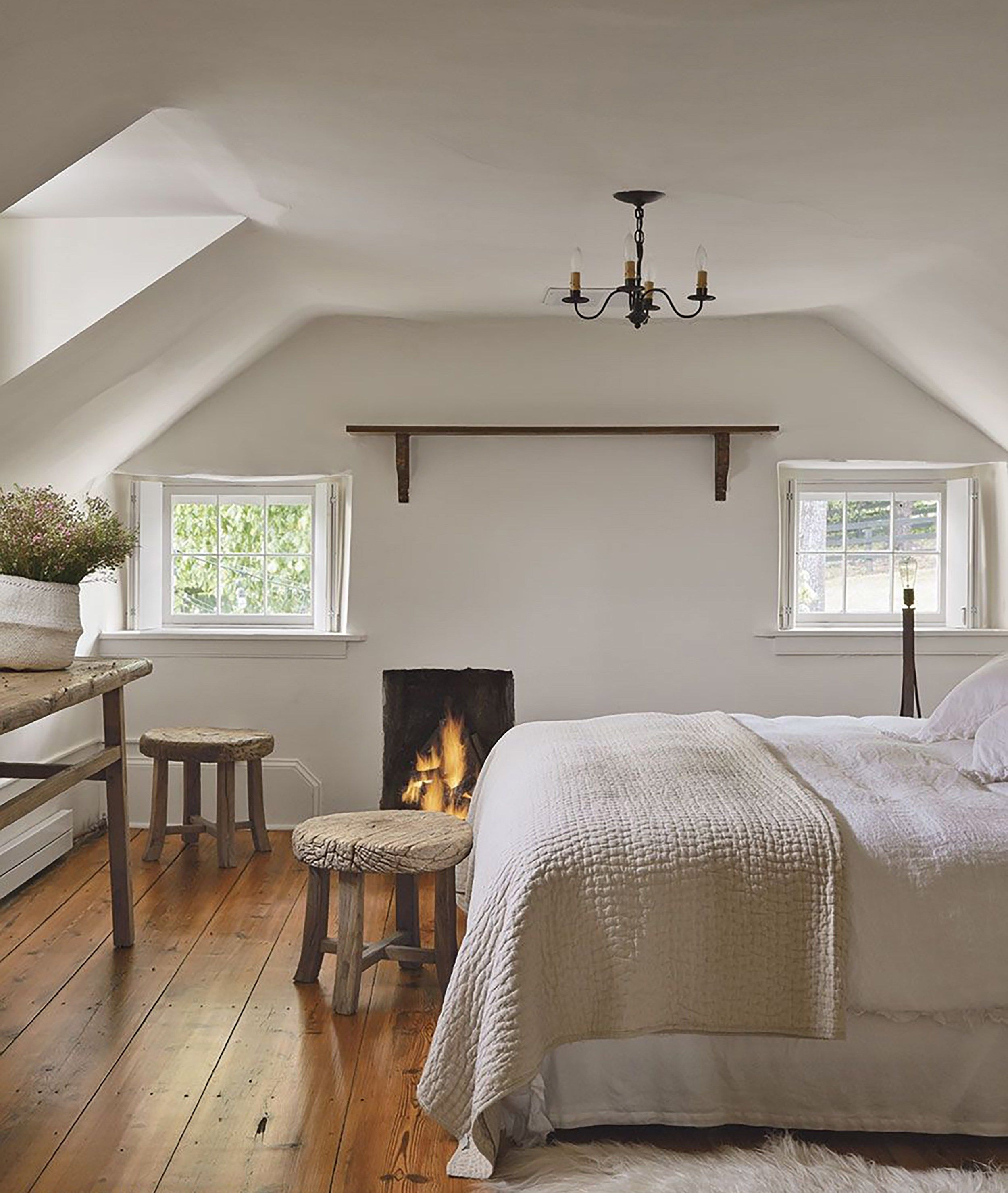 Minimal Simple Farmhouse Bedroom With Fireplace