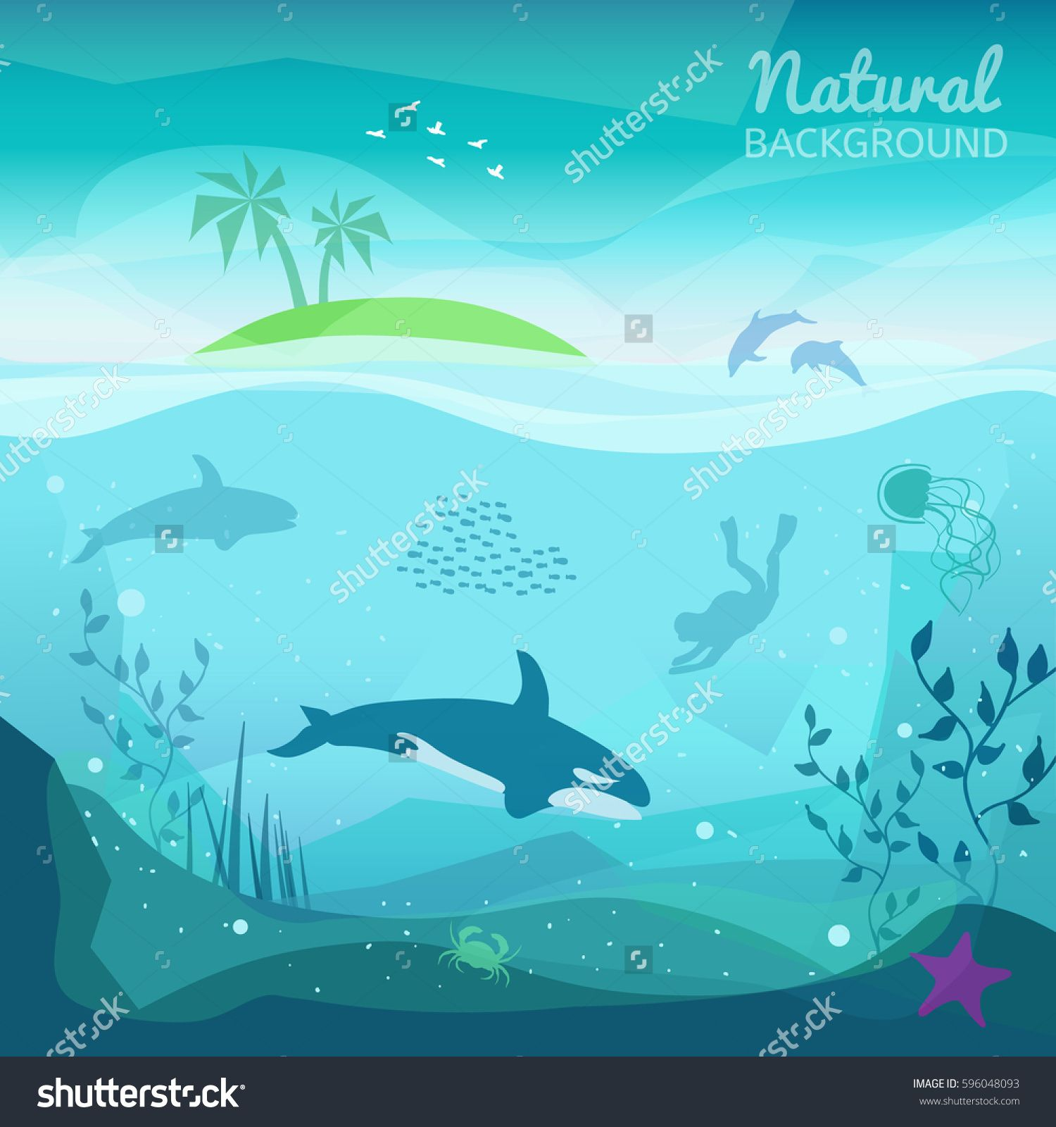 Tropical Sea Natural Background Landscape Of Marine Life Island In The Ocean And Underwater World Underwater Background Natural Background Ocean Backgrounds