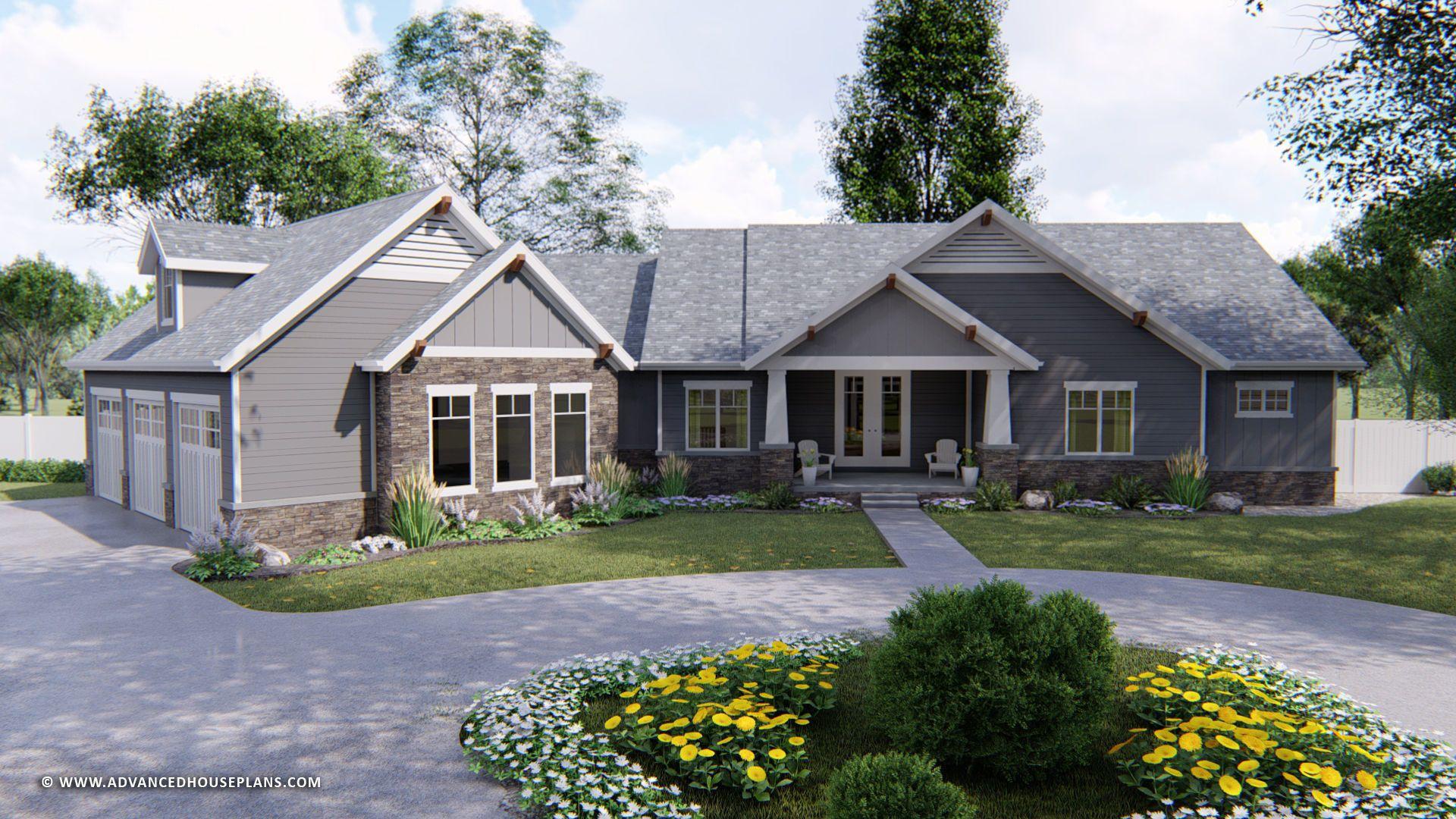 1 Story Craftsman House Plan Bridgetown Craftsman Style House Plans Craftsman House Craftsman House Plans