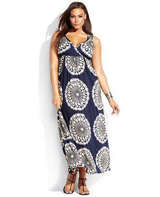 INC International Concepts Plus Size Sleeveless Printed Maxi Dress ...