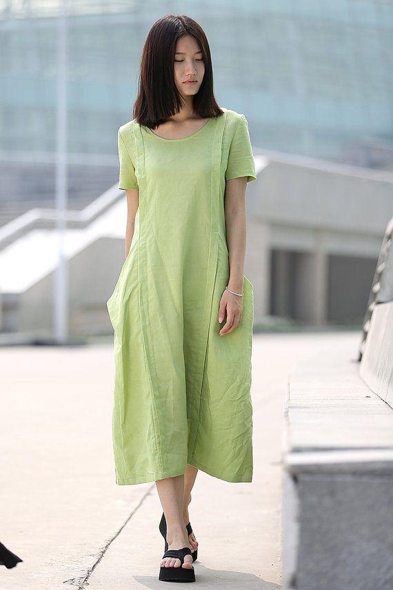 30119d56c5d Loose-Fitting Linen Dress - Casual Everyday Mint Green Midi Length Handmade  Kaftan Style Tunic Dress - Plus Sizes Available C261
