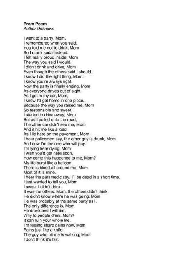 drunk driving poem mom