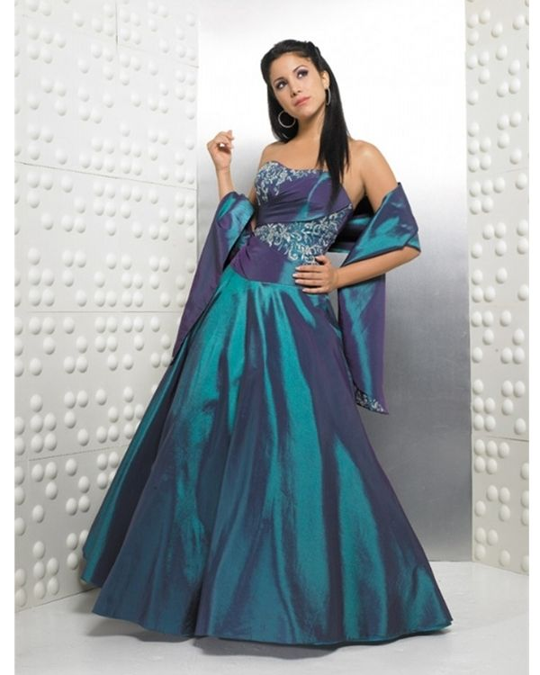 Ball Gown Strapless Medium Blue Embroidery