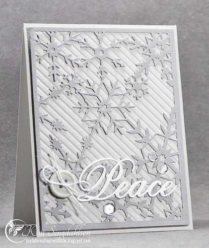 "Snowflake Peace— Reverse Snowflake Panel by Frantic Stamper, the ""Peace"" die is by Impression Obsession."
