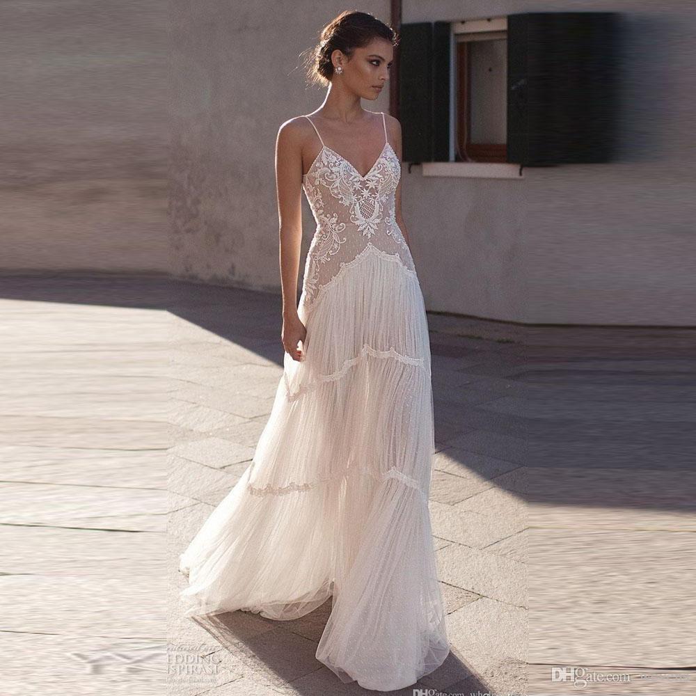 Romantic white illusion beach wedding dresses spaghetti strap