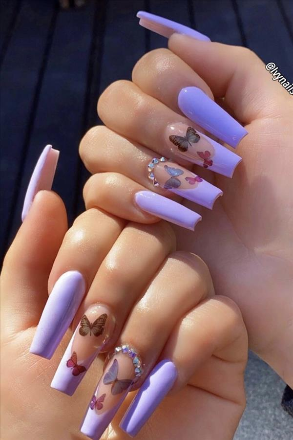 Natural Butterfly Nails Design For Long Nails 2020 In 2020 Cute Acrylic Nail Designs Purple Acrylic Nails Butterfly Nail Designs