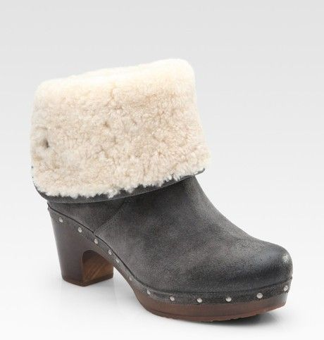 1421f4162ab Ugg Lynnea Suede and Shearling Clog Ankle Boots in Gray (charcoal ...
