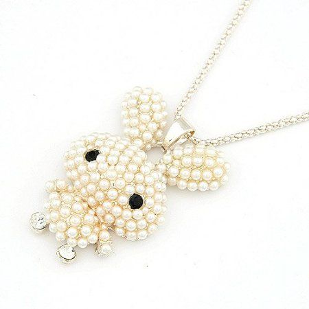 New Item Available on @BGJewel : #Alice Fashion Pearl White #Bunny Rabbit #Necklace! | bellagraciela #jewelry