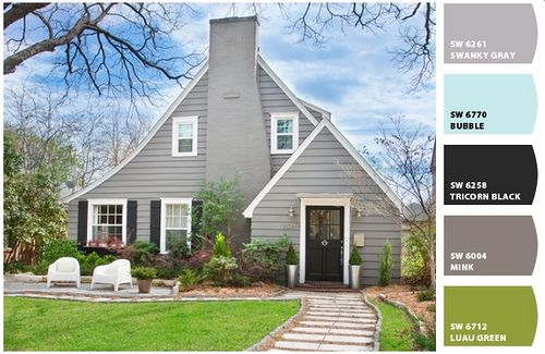 Beautiful This Is What I Want For Exterior Paint Colors. Warm Gray Siding (mine Is  Stucco) Black Shutters U0026 Door, White Trim. Home Design Ideas