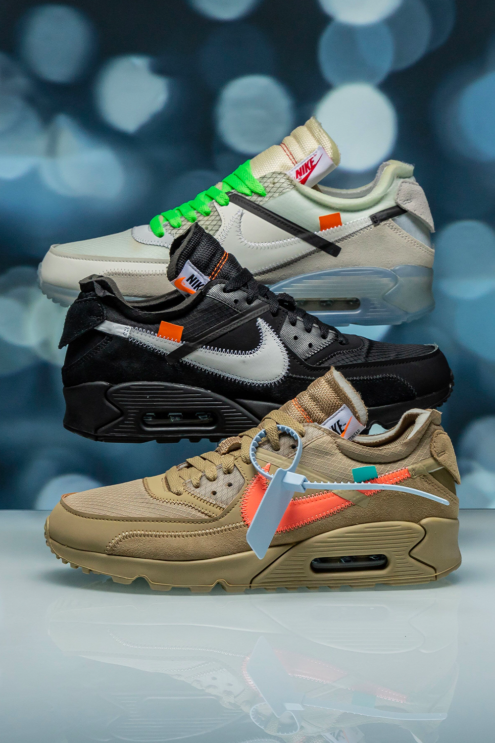 The three variations of the Off White x Nike Air Max 90 are