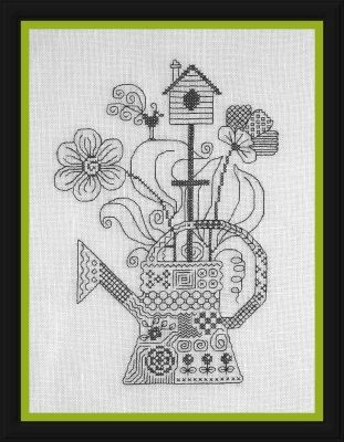 My Watering Can (Mon Arrosoir) – counted cross stitch chart. Monochrome design using black thread. Blackwork. English instructions. by AiguilleAnglaise on Etsy