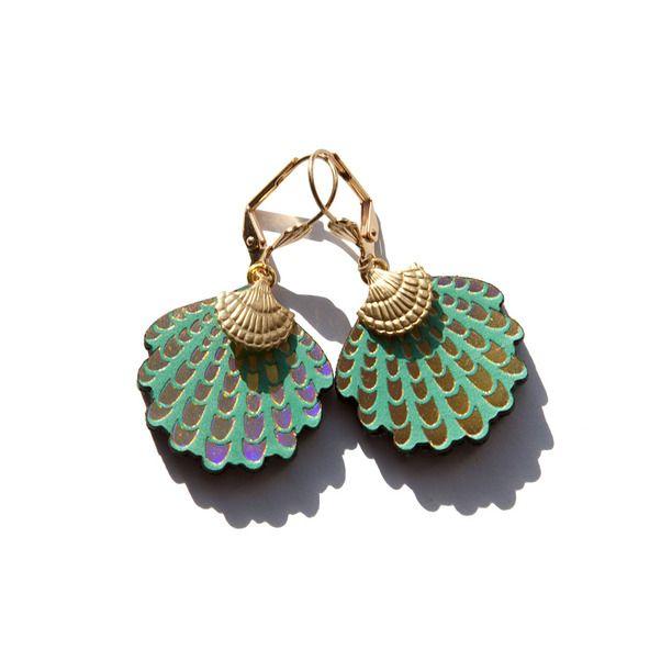 Ohrringe Muscheln Grün green, jewelry, earrings