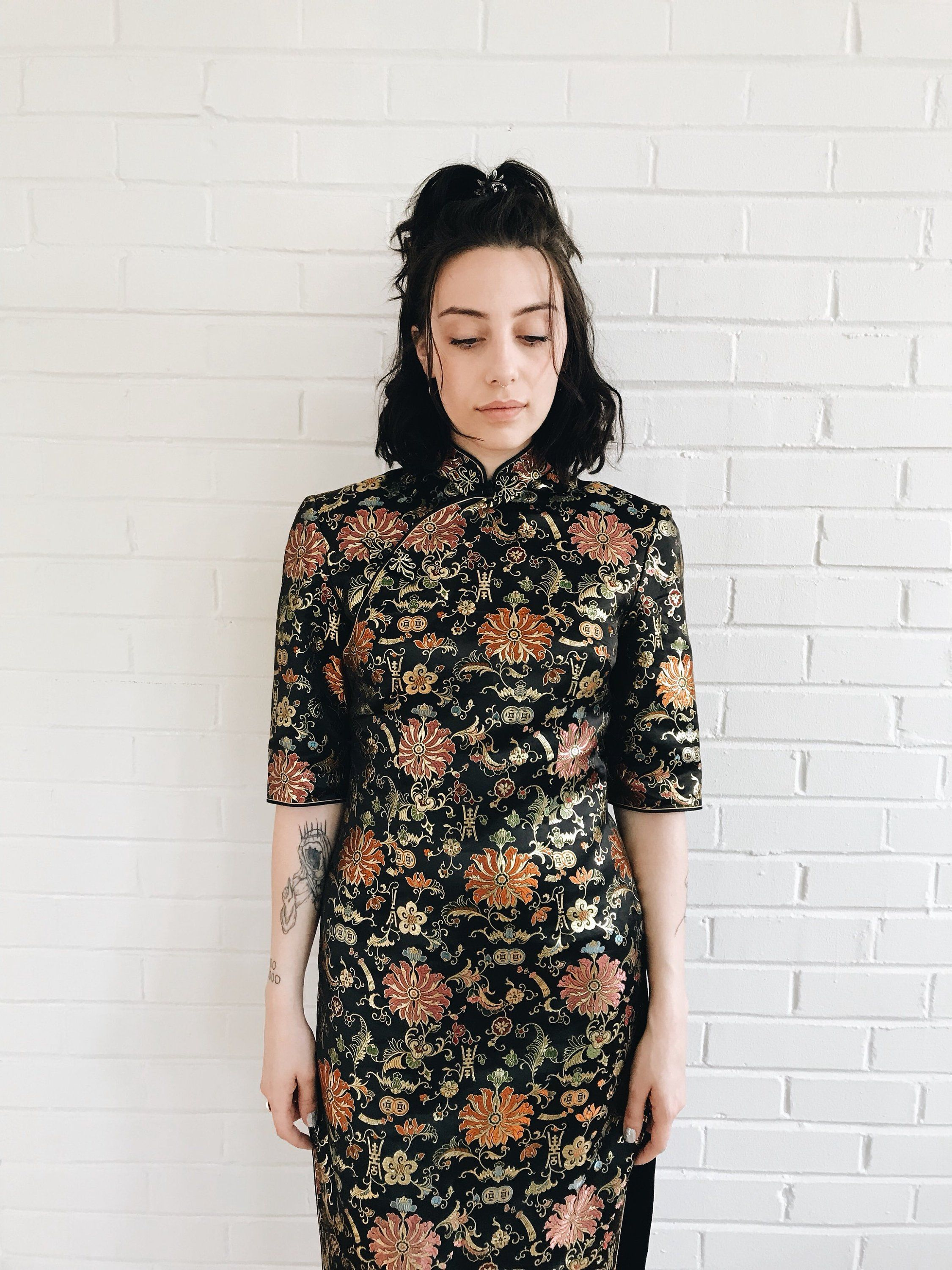 Qipao Gold Chinese Dress Black Maxi And In Reference 2019Sahanna trQdhxsC