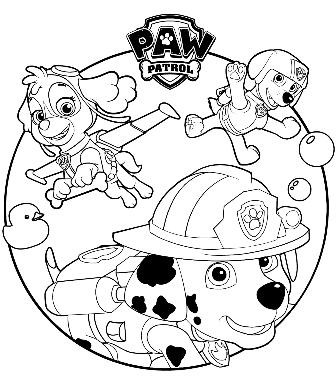 Ausmalbilder Paw Patrol Marshall : Aw Patrol Kleurplaat Skye Marshall En Rocky Paw Patrol Kleurplaten