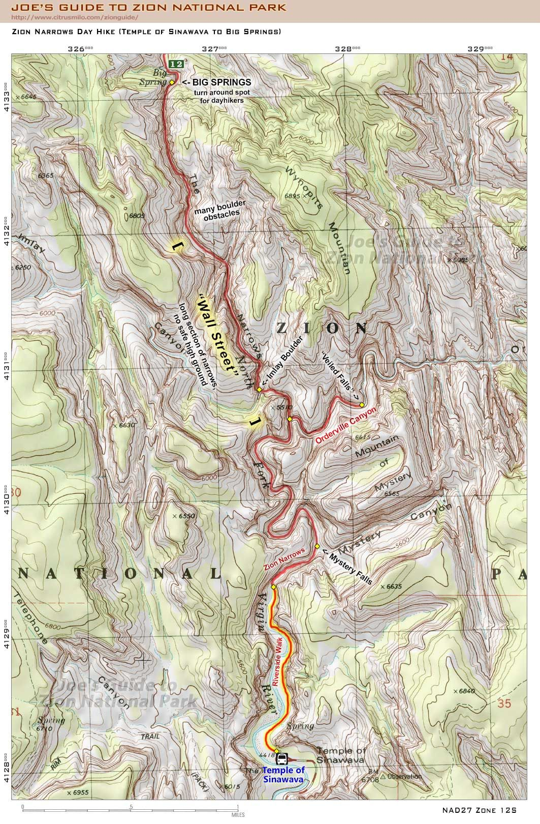 Zion Narrows Day Hike Map (Temple of Sinawava to Big Springs) | Go on