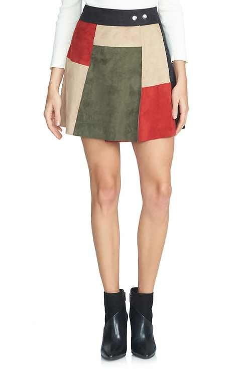 63453343e7 1.STATE Colorblock Faux Suede A-Line Miniskirt | Simple and Cool ...
