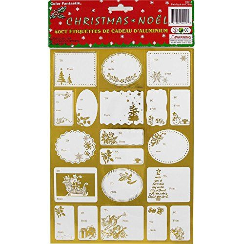 Gold Foil Christmas Gift Tag Stickers - Pack of 40 stickers * Find out more details by clicking the image