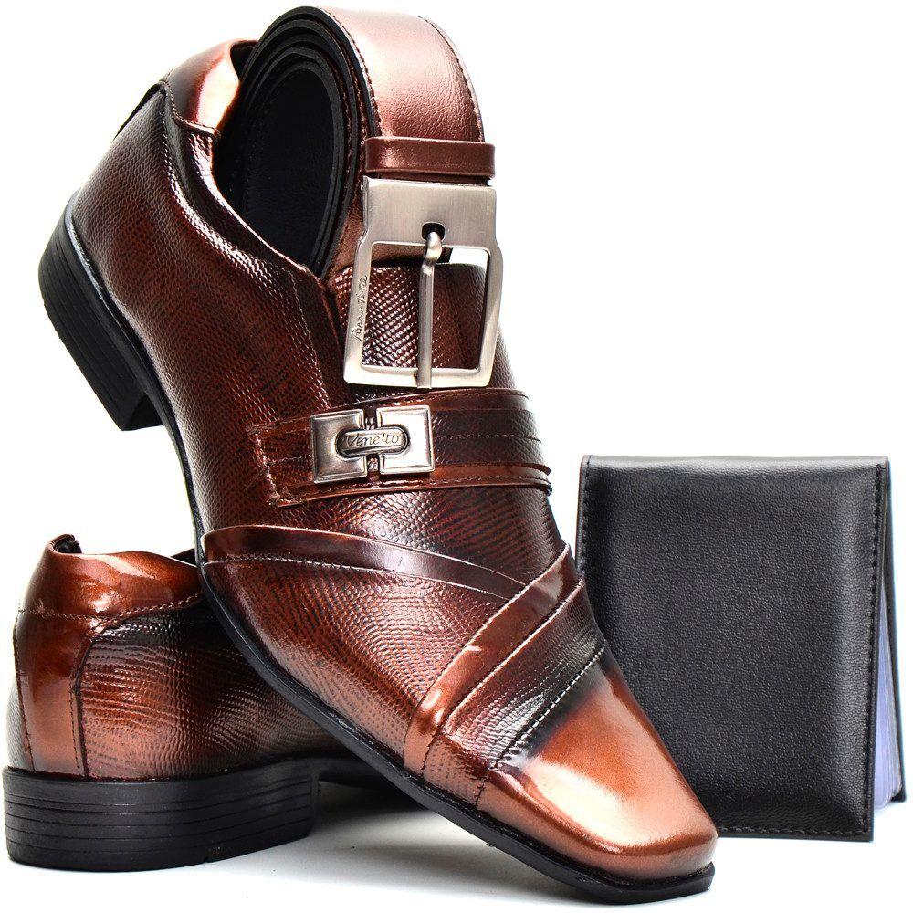 536935410 Sapato Social Masculino Couro Envernizado+cinto+carteira - R  139