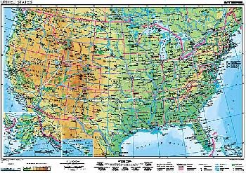 Usa Vseobecnogeograficka A Politicka Mapa 160x120cm