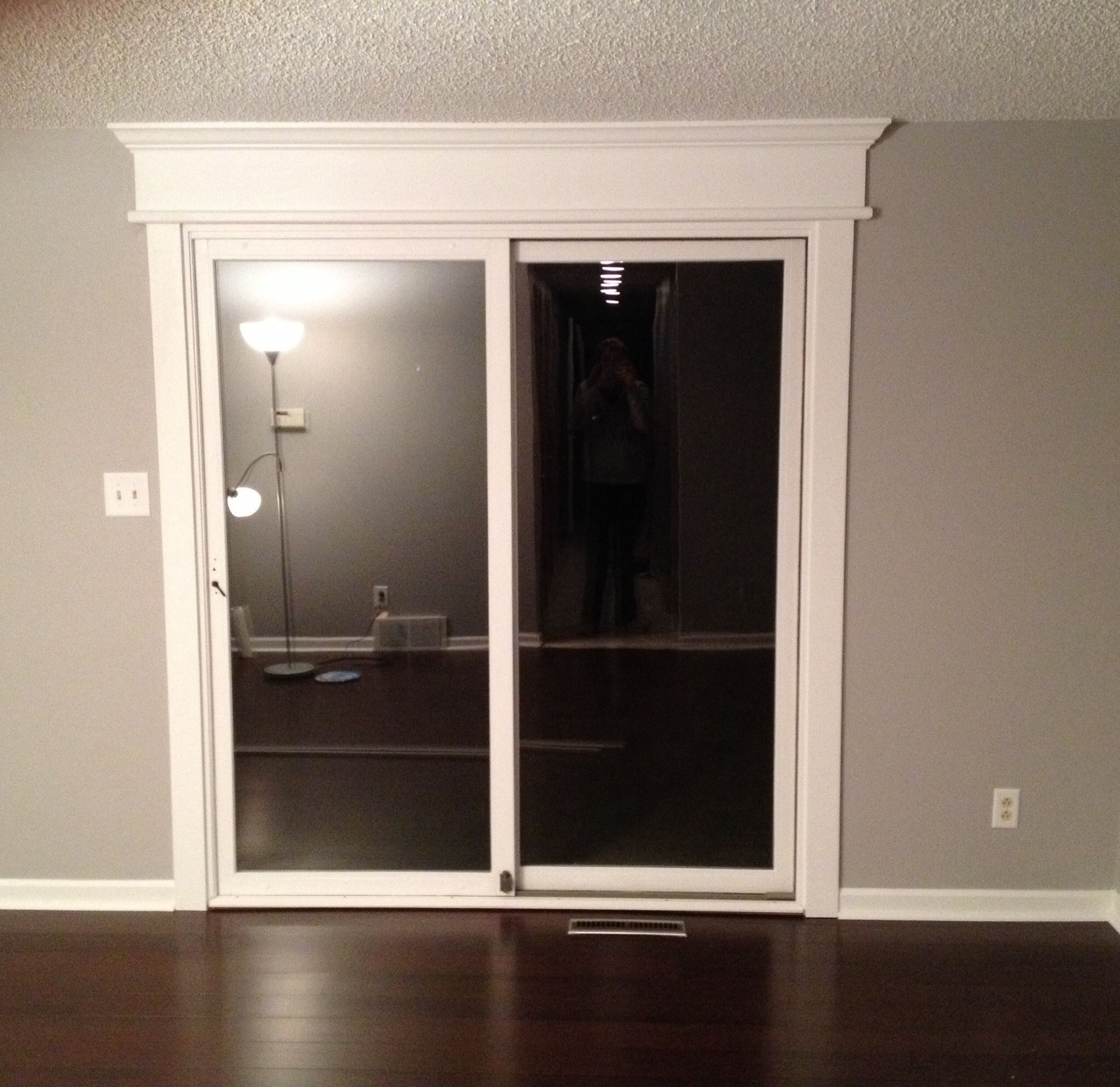 Sliding Doors Of Glass: DIY Sliding Glass Door Trim, Grey And White, Dark Hard
