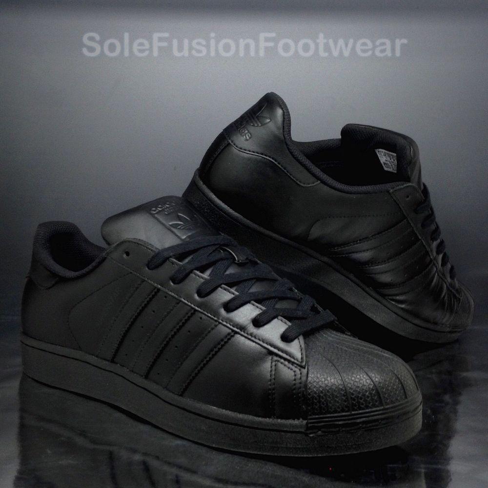 Adidas originali Uomo superstar formatori nero taglia 11 foundation