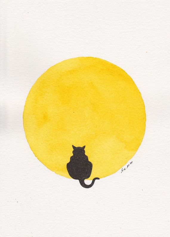 Fat Cat Sitting In The Moon Golden Yellow Moon Archival Ink Black