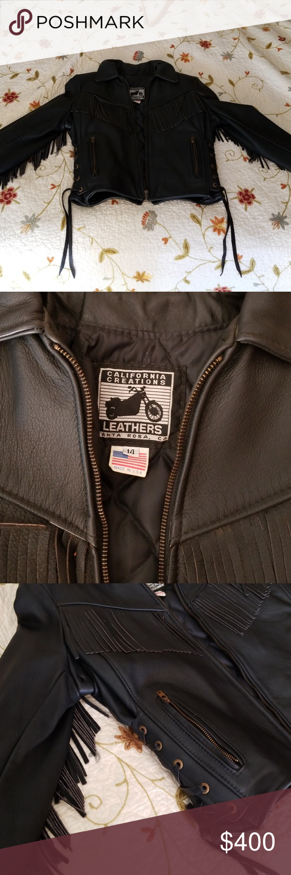 Womens black leather fringed motorcycle jacket Black