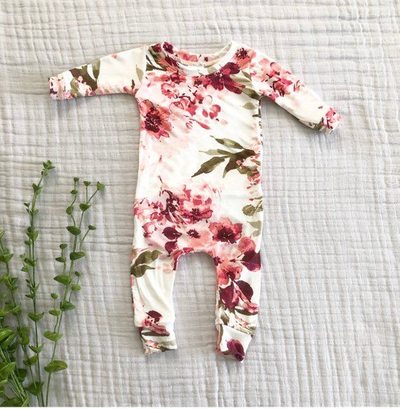Photo of Floral baby outfit, baby girl clothes, flower print one piece, baby pajamas, floral girl outfit – butt flap outfit.