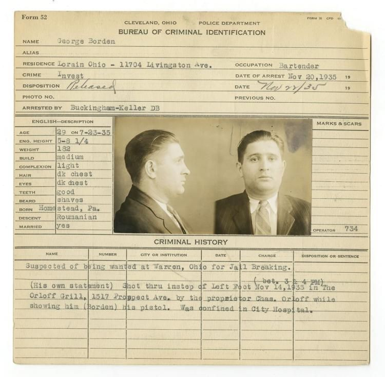 Police Booking Sheet - George Borden, 1935, Ohio w/ Mugshots