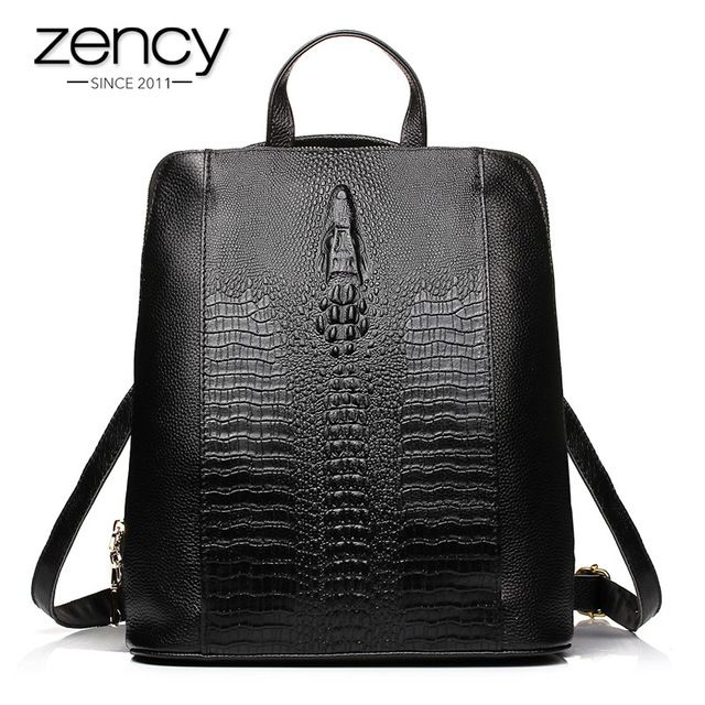 fa2e0b4864af Fair price Luxury Genuine Leather Bag Ladies 2017 Crocodile Pattern Women  Backpack Girl Book School Bags Famous Brand Designer High Quality just only   46.72 ...