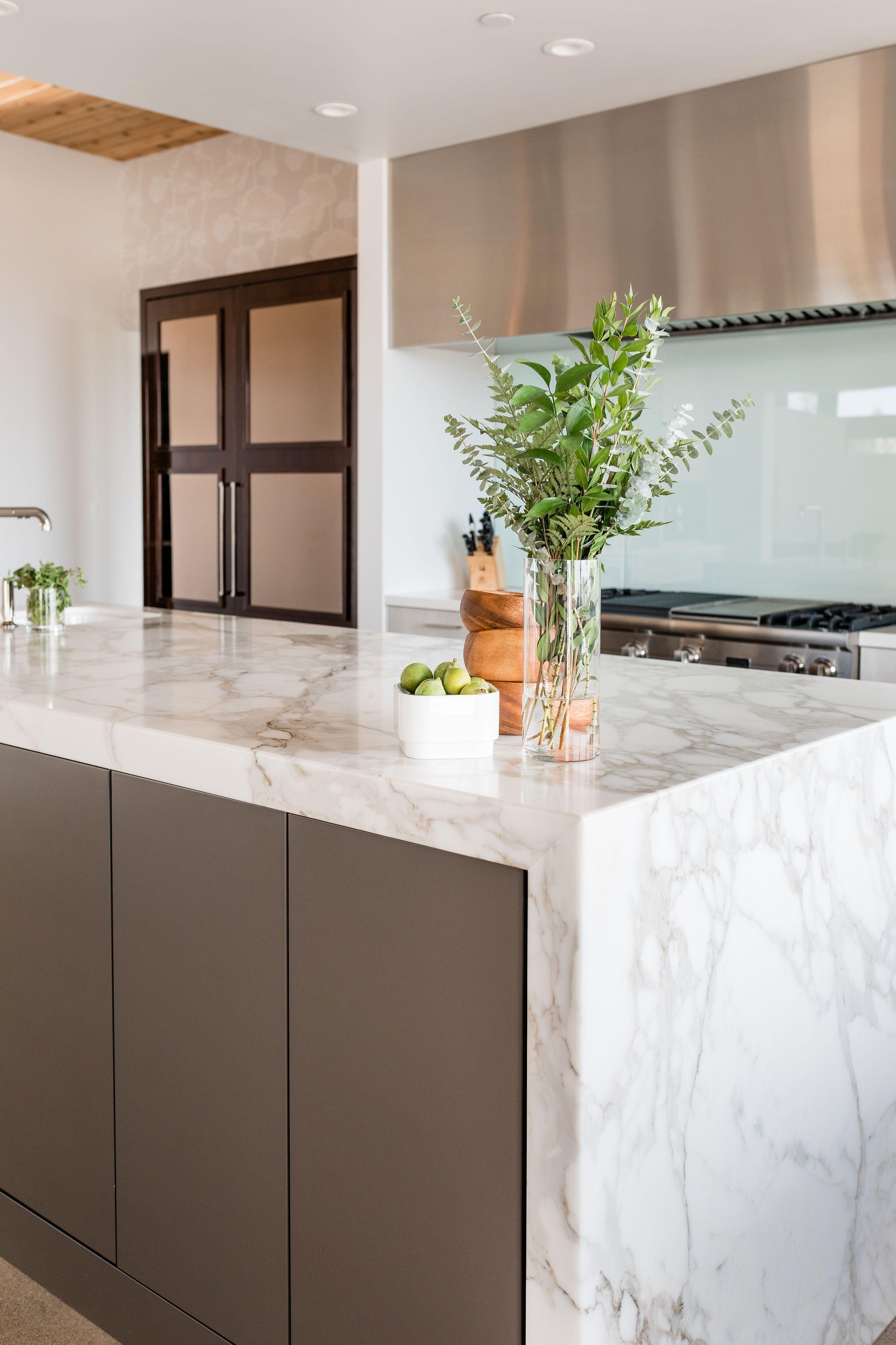 Marble Island Waterfallcountertop Contemporary Kitchen With Marble Waterfall Countertop Waterfall Countertop Kitchen Cabinets And Countertops Cabinetry Design