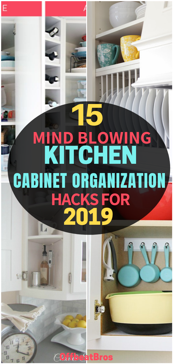 15 Mind-Blowing Ways to Organize Kitchen Cabinets #cabinetorganization How to Organize Kitchen cabinets? These kitchen cabinet organization ideas will help you easily organize kitchen cabinets in no time. With a little planning and few of these kitchen cabinet organization ideas, these organization tips will totally transform your Kitchen cabinets. Do check them out! #kitchencabinets #kitchencabinetorganization #offbeatbros #organizationtips #organizationideas #organizekitchen