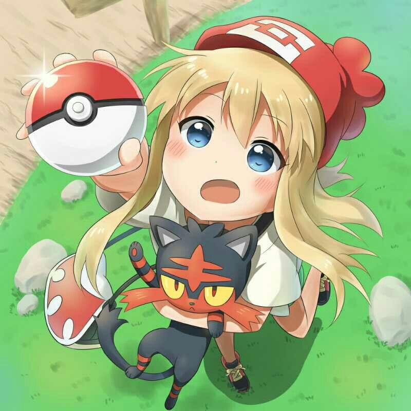 Girl Blonde Hair Blush Pokeball Pokemon Trainer