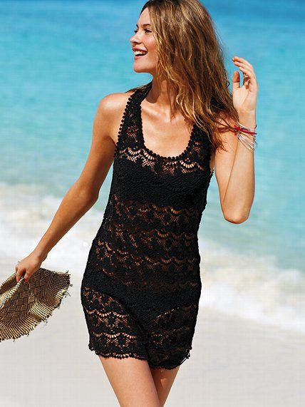 cc6db8ea06 Victoria s Secret Beach Sexy! Lace Cover-up  3 The fashion favorite is beach -bound. This lace cover-up flaunts an easy-to-wear tank dress silhouette  and a ...