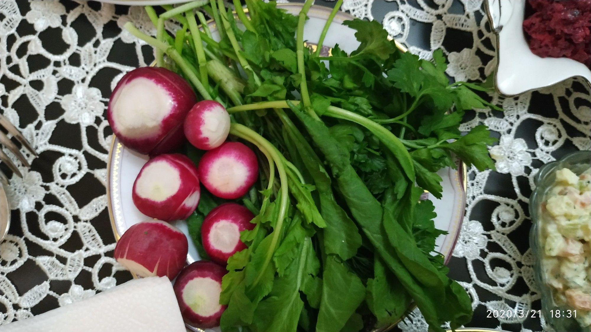 Turp Kəvər Kisnis Goy Sogan Vegetables Radish Food