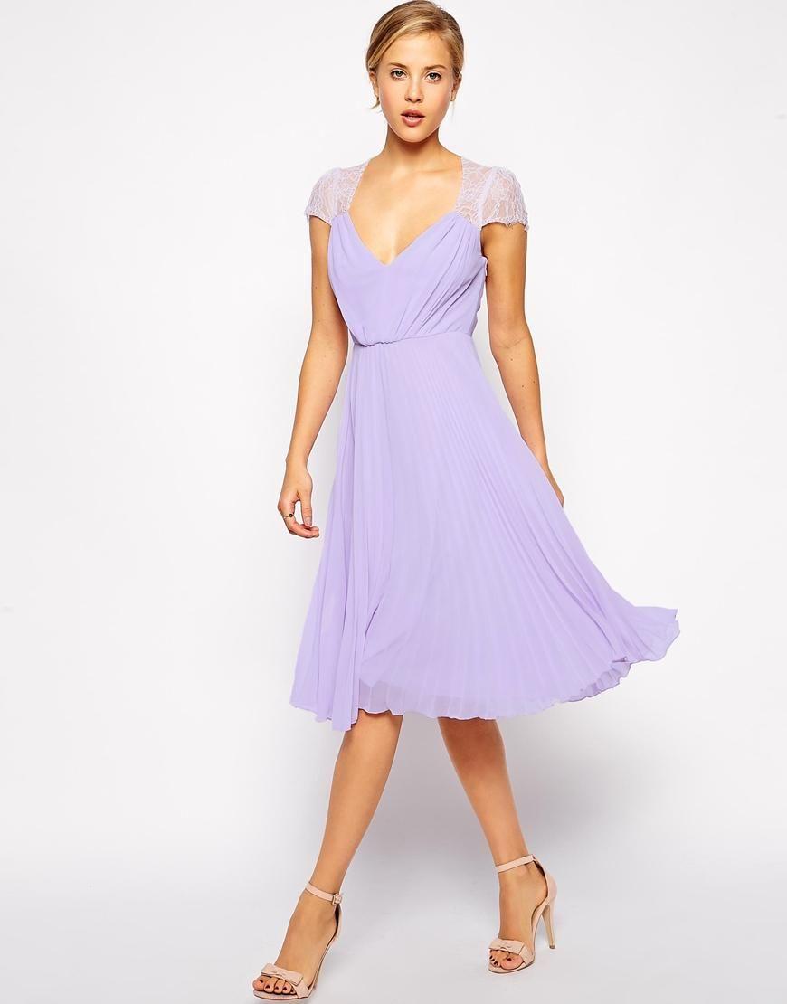 Lace Insert Pleated Midi Dress | Pinterest