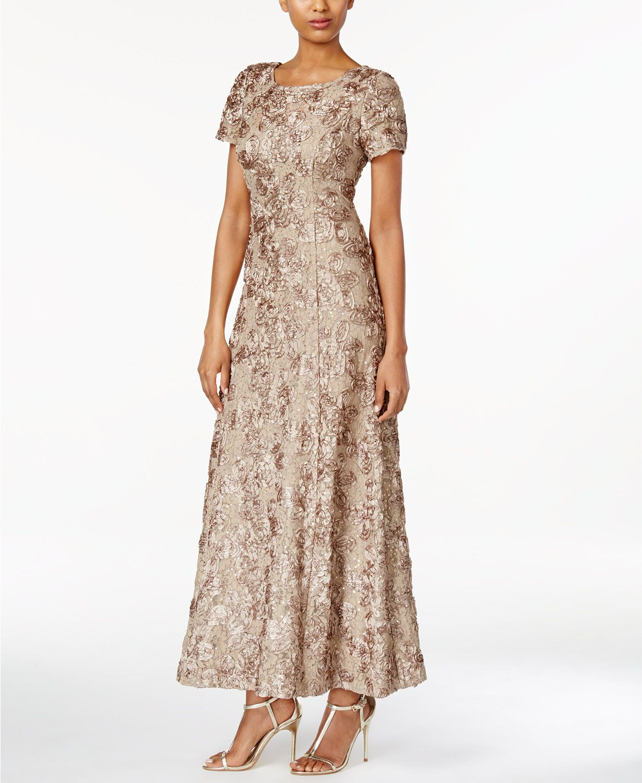 Alex Evenings Petite Rosette Lace A-Line Gown | macys.com | Melodie ...