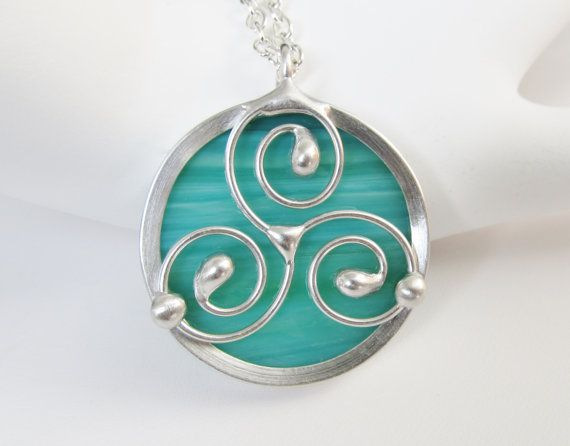 Stained Glass Pendant Necklace Celtic Triskele Sea by JasGlassArt, $22.00