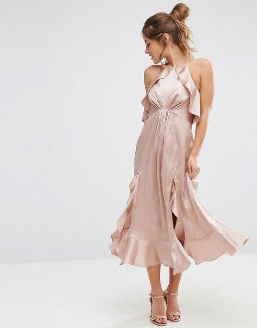 2e776a29e403 Discover Fashion Online Cami Midi Dress, Asos Dress, Ruffle Dress, Ruffles,  Blush