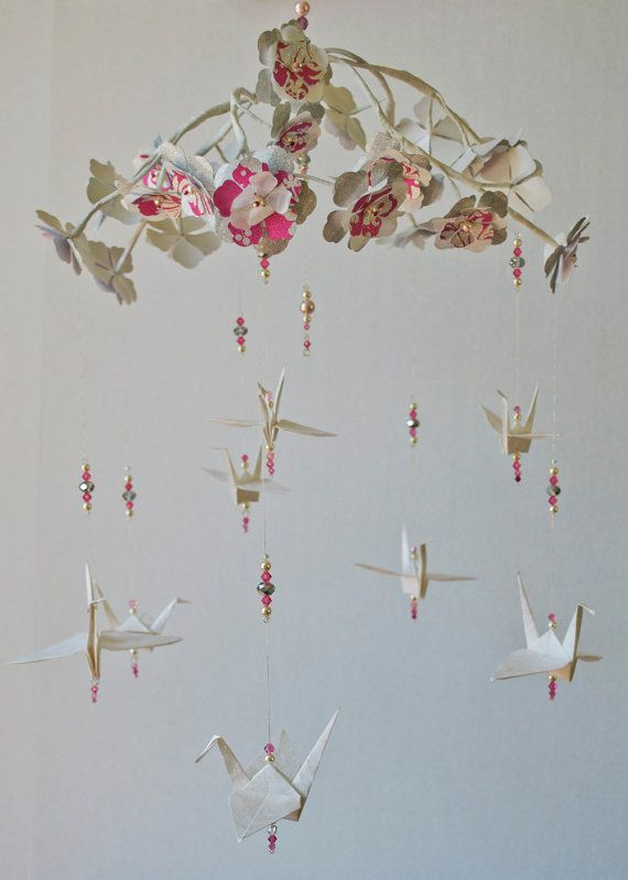 Paper Mobile Origami Crane White Pink Silver Wedding My