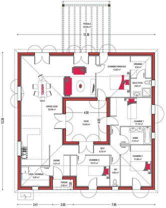 Modèle de maison Villa Patio -  Retrouvez tous les types de maison - logiciel pour faire plan de maison