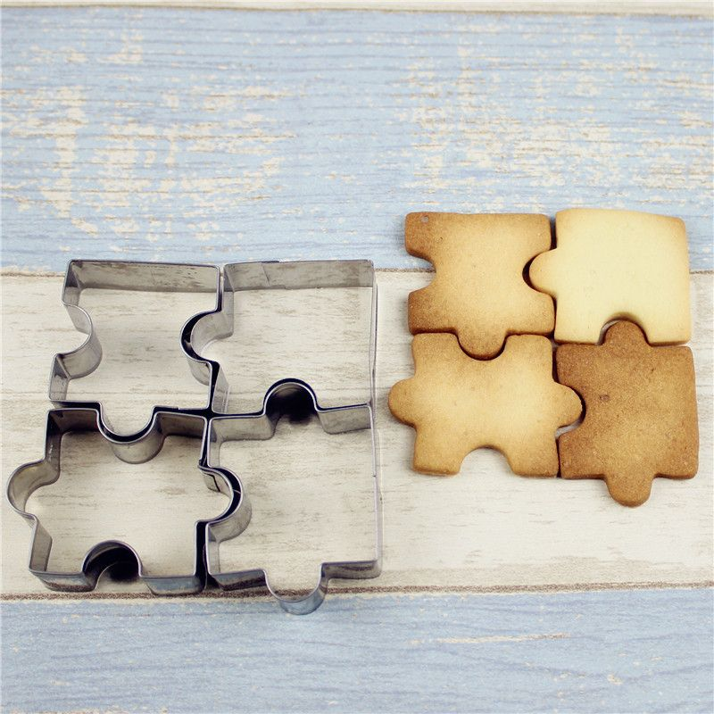 Stainless Steel Jigsaw Pieces Cookie Cutter Baking Puzzle Shaped Mold 6A