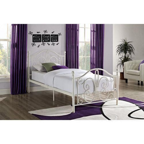 Twin White Metal Bed Frame with Metal Slats Traditional Romantic ...