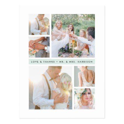 Seaglass Stripe Wedding Photo Collage Thank You Postcard Wedding