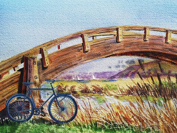 Bicycle Bridge Marina' - http://irina-sztukowski.artistwebsites.com/featured/bicycle-bridge-marina-irina-sztukowski.html #bicycle #bicycleart #bicyclepainting #landscape #bikeride #watercolor #marina #shore