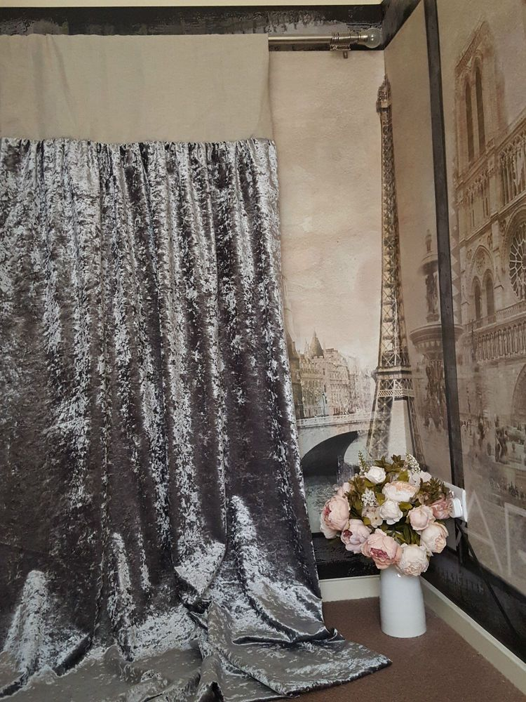 Made To Measure 52 W 121 D Silver Crushed Velvet Blackout Lined Bay Curtains